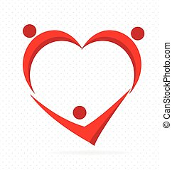 coeur, gens., amour, collaboration, famille