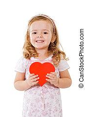 coeur, girl, rouges, heureux
