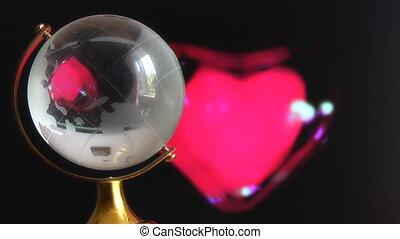 coeur, globe, battement, rouges