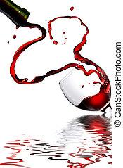 coeur, gobelet, verser, isolé, blanc rouge, vin