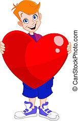 coeur, gosse, tenue, valentin