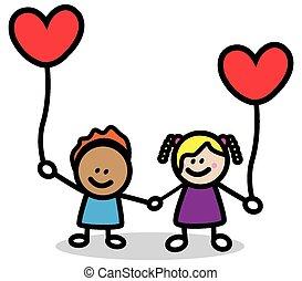 coeur, gosses, heureux, rouges, amant