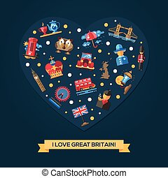 coeur, grand, amour, britannique, symboles, célèbre, grande-bretagne, carte