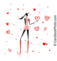 coeur, grand, valentin, day., girl, rouges