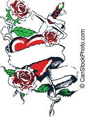 coeur, graphique, gothique, rose, tatouage