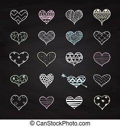 coeur, griffonnage, craie, motifs, vecteur, formes, dessin