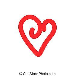 coeur, griffonnage, icône