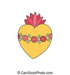 coeur, griffonnage, vecteur, sacré, marie, icône