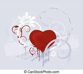 coeur, gris, fond, rouges