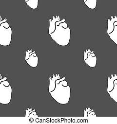 coeur, gris, modèle, signe., seamless, arrière-plan., vecteur, humain
