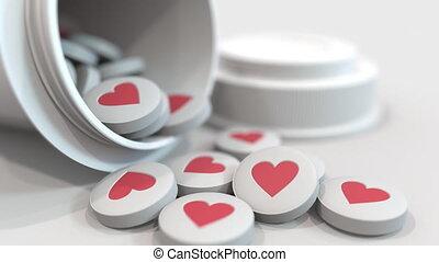 coeur, gros plan, coup, affranchi, symbole, animation, ils., pilules, 3d