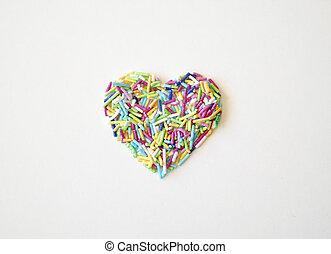 coeur, gros plan, mûre, isolé, texture, sugar-coated, forme, fond, riz blanc, vue