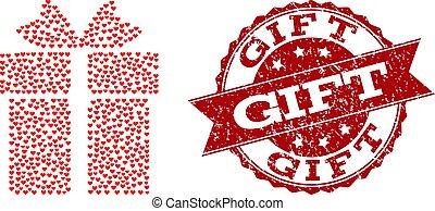 coeur, grunge, cadeau, timbre, valentin, mosaïque, icône