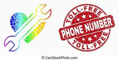 coeur, grunge, coloré, arc-en-ciel, timbre, nombre, téléphone, vecteur, pixelated, icône, réparation, toll-free