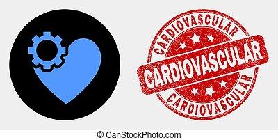 coeur, grunge, engrenage, timbre, vecteur, icône, cardio-vasculaire