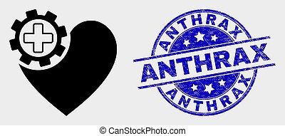 coeur, grunge, engrenage, vecteur, cachet, anthrax, icône