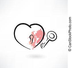 coeur, grunge, icône principale