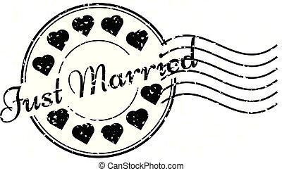 coeur, grunge, juste, timbre, mariés, caoutchouc, noir, cachet poste, rond, icône