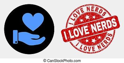 coeur, grunge, main, donation, vecteur, cachet, amour, nerds, icône