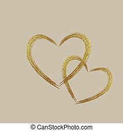coeur, grunge, or, forme, stamps., amour, ton, design.