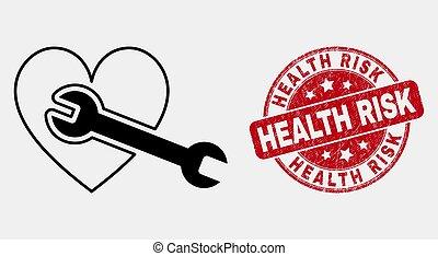 coeur, grunge, risque, réparation, vecteur, santé, clé, cachet, ligne, icône