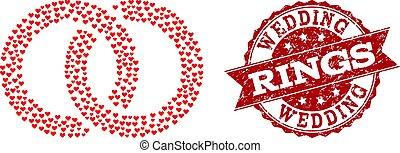 coeur, grunge, timbre, anneaux, valentin, mariage, mosaïque, icône