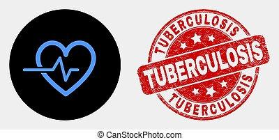 coeur, grunge, timbre, pouls, vecteur, tuberculose, icône