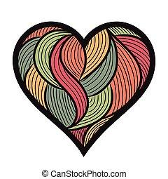 coeur, hand-drawn, vecteur, illustration, griffonnage