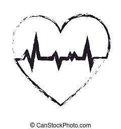 coeur, healthcare, isolé, icône
