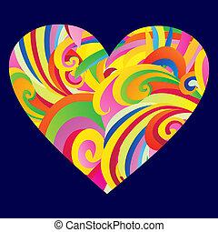 coeur, heart., coloré, résumé, petite amie, élégant, jour