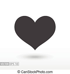 coeur, heart., plat, mobile, signe, vecteur, toile, infographics, logo, icon., conception