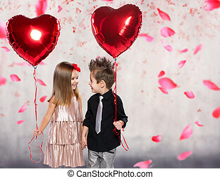 coeur, heureux, balloon, o, rouges, gosses