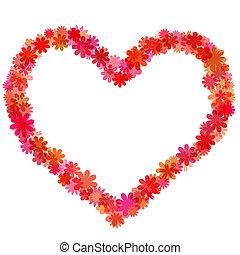 coeur, heureux, saint-valentin, floral-shaped