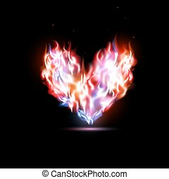 coeur, humain, flammes