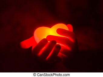 coeur, humain, sombre, incandescent, tenant mains, rouges