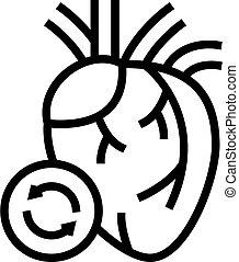 coeur, icône, illustration, vecteur, ligne, transplantation