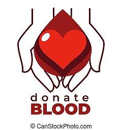 coeur, icône, isolé, sanguine, mains, donner, charité