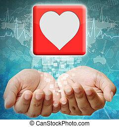 coeur, icône, main, fond