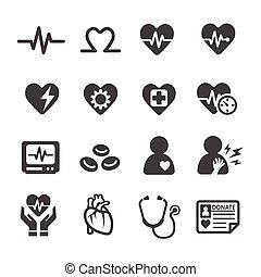 coeur, icône, monde médical
