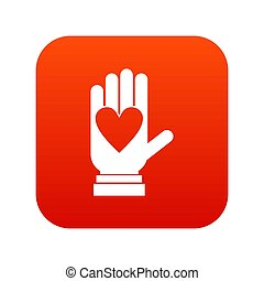 coeur, icône, numérique, rouges, main