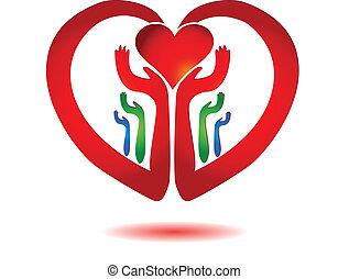 coeur, icône, vecteur, tenant mains