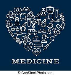 coeur, icônes, équipement, healthcare, médecine, ou