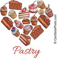 coeur, icônes, étiquette, bonbons, forme, patisserie