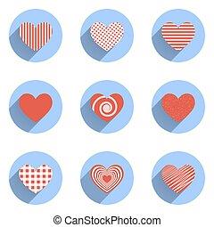 coeur, icônes, ensemble, valentines, idéal, jour mariage