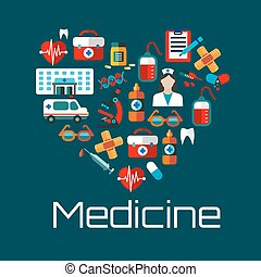 coeur, icônes, sain, symbole, services, monde médical
