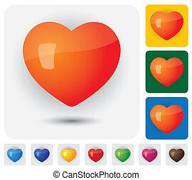 coeur, &, ), (, icônes, signes, romance, santé, humain, ...