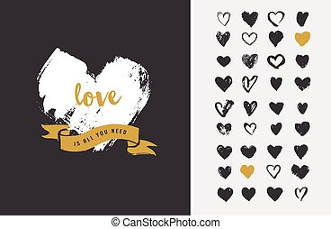 coeur, icônes, valentines, icônes, main, mariage, dessiné