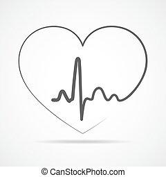 coeur, icon., vecteur, illustration.