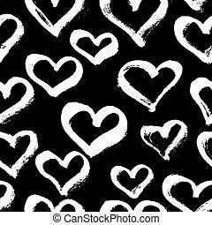 coeur, illu, moderne, pattern., seamless, main, vecteur, encre, branché, dessiné