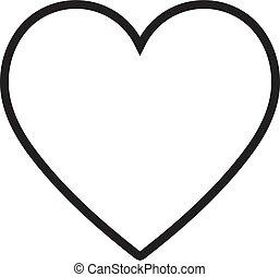 coeur, illustration., linéaire, symbole, vecteur, mince, icône, contour